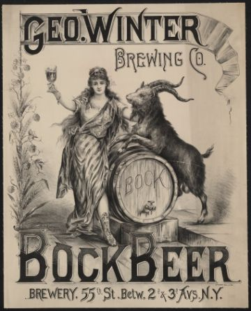 Vintage Travel Poster, Winter Brewing Co. bock beer. Brewery 55th St. Louis Kraemer N.Y.